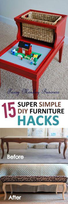 15 Super Simple DIY Furniture Hacks - http://sunlitspaces.com/2017/01/10/15-super-simple-diy-furniture-hacks/