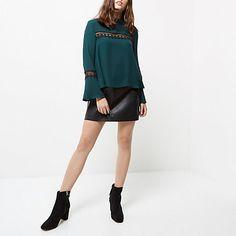 Petite dark green lace bell sleeve top $30.00