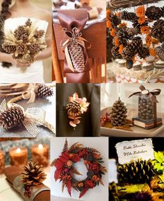 Fall pine cone decor ideas...really like the garland with fall flowers.