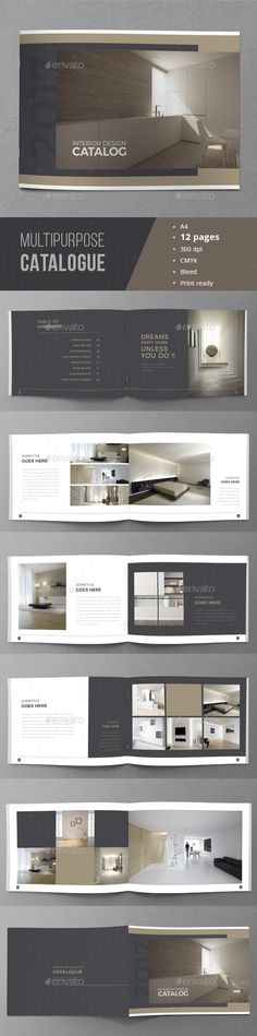 Buy Minimal Catalogue Brochure by on GraphicRiver. Multipurpose Brochure / Catalogue Template This is 12 page minimal brochure / catalogs template is for designers work. Luxury Brochure, Design Brochure, Booklet Design, Brochure Design Inspiration, Brochure Layout, Book Design Layout, Brochure Cover, Brochure Template, Portfolio Layout