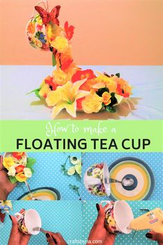 how to make a beautiful floating tea cup home decor craft. Very easy step by step instructions. perfect spring craft idea for teens and adults. #homedecorcraft #roomdecor