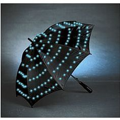 Sport this light-up umbrella at night to protect yourself from rain...and make passersby think a tiny alien spaceship is landing