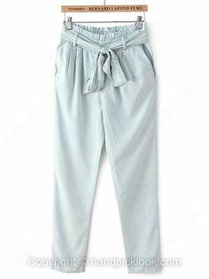Light Blue Sashes Denim Loose Jeans -$26.69