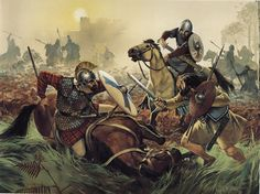 Picts beyond Hadrian's wall fighting Romans in Britain