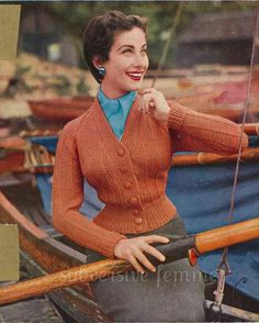 1950s fitted raglan cardigan, 34-36-38 in bust - Vintage Knitting Pattern PDF (502)