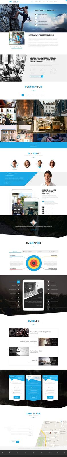 #Mountcool, a perfect one page parallax template with a separate blog section suitable for product promotion, photographer, web design agency, event promotion, freelance and personal website. The template consists of newsletter section, social icons with tool tips, google map, twitter section, pricing table, customer testimonials, html short-codes and more will help you to build websites in minutes…#html #template