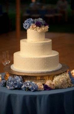 Simple cake with piped dot details and fresh hydrangeas