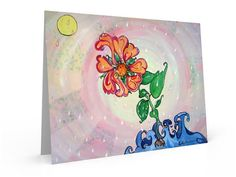 abstract floral greeting card note card stationary by PiskyArt