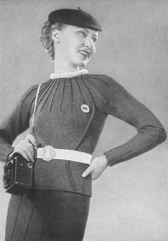 Free 1930s knitting pattern for a Sporty Knitted Ladies Pullover from Schmidt'sche Wolle 1937
