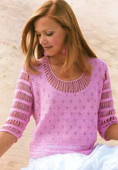 DE MIS MANOS TEJIDOS Y MAS...: Polera rosada - pink crochet T-shirt with 3/4 sleeves