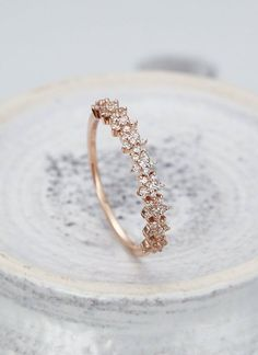 Diamond Wedding Band Rose Gold Star Matching Stacking Micro Pave Half Eternity Unique Antique Delicate Anniversary Gift For Her Diamant Ehering Rose Gold Star passende Stapeln Micro ebnen eine halbe Ewigkeit einzigartige antike Delica Morganite Engagement, Rose Gold Engagement Ring, Vintage Engagement Rings, Rose Gold Band Ring, Ring Set, Ring Verlobung, Ring Rosegold, Accesorios Casual, Diamond Wedding Rings
