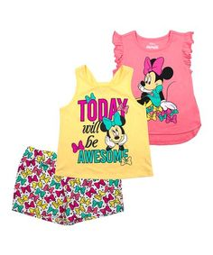 Your little Disney-lover will enjoy rocking this coordinated combo featuring comfy materials and her favorite dress-wearing mouse. Bnf, New Today, 9th Birthday, Princess Peach, Minnie Mouse, Infant, Comfy, Shorts, Awesome