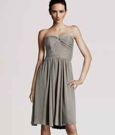 sleeveless chiffon dress with fitted, draped bodice in gray-brown from h&m
