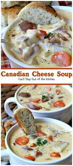 Canadian Cheese Soup Cant Stay Out of the Kitchen the BEST and youll ever eat One of my favorite comfort foods Canadian Cheese, Canadian Food, Canadian Recipes, Canadian Dishes, Canadian Cuisine, Canadian Drinks, New Recipes, Cooking Recipes, Favorite Recipes