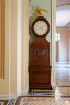 """The Voigt clock outside of the US Senate Chamber is also known as the """"Ohio clock. Us Capitol, Capitol Hill, Us Senate, Time Stood Still, House Siding, Church Architecture, American Artists, Clocks, Buzzers"""