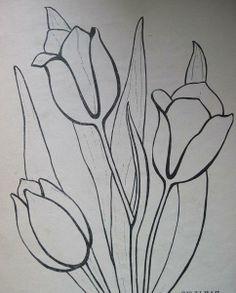 Вышивка гладью, схема Тюльпаны