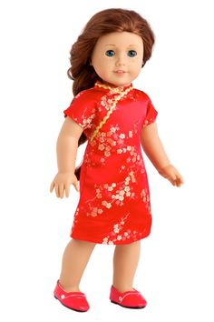 Red and gold brocade traditional Chinese dress with gold zigzag trim and gold shoes. - Doll dress contains a wide back closure for easy dressing and clothing removal. - Our doll clothes fits 18 inch A