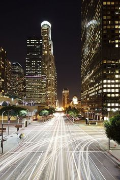 Downtown LA always especially nice at night. Love this long exposure view.