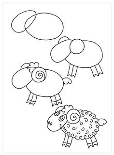 Beautiful pencil drawings that easy to draw with children - Doodle Art, Doodle Drawings, Cartoon Drawings, Animal Drawings, Drawing Lessons For Kids, Art Drawings For Kids, Art Lessons, Art For Kids, Children Drawing