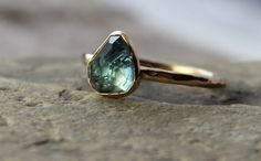 oval indicolite blue tourmaline ring set in by TheSpiralRiver