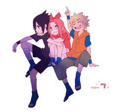 Pixiv Id 1603441, NARUTO, Uzumaki Naruto, Haruno Sakura, Uchiha Sasuke, Wristband