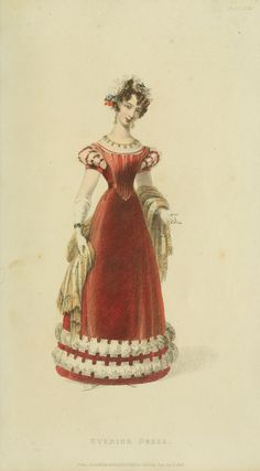 Red velvety gown 1826 - Ackermann's Repository Series 3 Vol 8 - December Issue