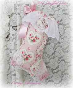 Luscious Pink And Roses With Hearts Christmas Stocking At The Ruffled Rose