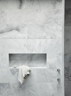 Grey stone look tiles, wall niche