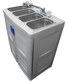 """Portable Sink with hot water Mobile Concession 4 Compartment - - Amazon.com $1,200 88 pounds 30"""" W x 18"""" D x 42"""" H. 80 lbs 6 Gallons freshwater tank.  7.5 Gallons waste water tank  2.5 Gallons water heater with thermostat  High quality Xylem-Flojet water pump with electronic pressure control. 110v.  9 ft #14(15A) power cord  Back flow protection."""