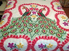 Vintage Double Peacock Chenille Bedspread