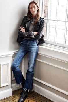 leather and cropped denim look