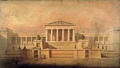 Thomas Hamilton's design for the Royal High School, Edinburgh, completed Greek Revival Architecture, Neoclassical Architecture, Historical Architecture, Architecture Drawings, Architecture Design, Hamilton High School, Greek Buildings, Facade House, House Facades