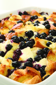Blueberry Breakfast Casserole - 2 c blueberries, 8 eggs, 1/4 c maple syrup, 1 loaf of bread, 1 1/2 c milk, 4 oz cream cheese, 1/4 c butter. Cover and bake at 350 for 45 minutes.