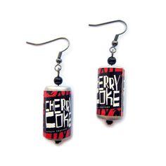 Retro+Cherry+Coke+Novelty+Earrings+by+PrettyMixxJewellery+on+Etsy,+£4.00