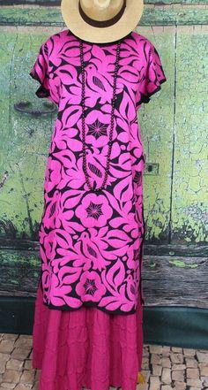 Pink & Black Hand Embroidered Huipil Dress Jalapa Oaxaca Mexico Santa Fe Style #Handmade #MexicanDress