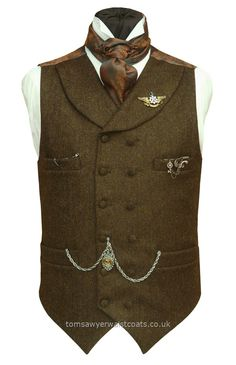 TRUFFLE BROWN STEAMPUNK High Neck Double-Breasted Waistcoat With Shawl Collar  - Traditional Waistcoats Online Steampunk Waistcoats Buy UK