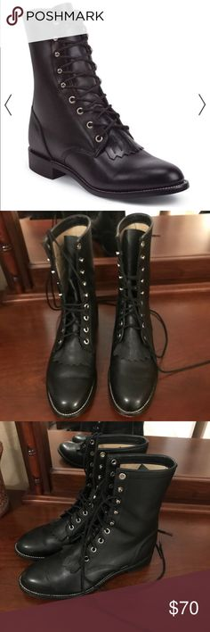 Justin Roper Boots Justin Roper Riding Boots in gently used great condition.  See size chart for best fit. Justin Boots Shoes Lace Up Boots