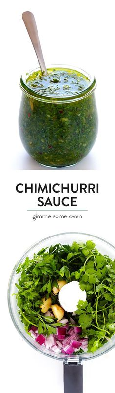 This homemade Chimichurri Sauce recipe is super easy to make in the food processor or blender, and it's full of easy, fresh, and delicious ingredients, and it's perfect for topping seafood, steak, veggies, or whatever sounds good. | gimmesomeoven.com