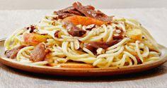Spaghetti au canard confit, noisettes & pommes marinées   Marabout Cuisine