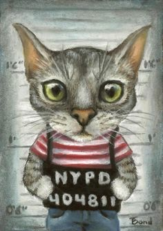 Mugshot of a cat felon - 5x7 print by Tanya Bond. Starting at $9 on Tophatter.com!