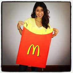 Fries: A fan of the fries from McDonald's? Well, why not be some for Halloween! What you need to do: Get red and yellow poster paper. Hold the costume up with suspenders. Source: Instagram user 7cely