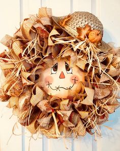 Excited to share this item from my shop: Scarecrow Face Wreath, Scarecrow Wreath, Fall Door Decor, Scarecrow Door Scarecrow Face, Scarecrow Wreath, Scarecrow Crafts, Scarecrow Ideas, Fall Deco Mesh, Deco Mesh Wreaths, Yarn Wreaths, Fall Harvest, Autumn Fall