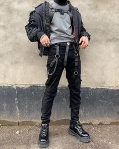 How to wear: black bomber jacket, grey sweatshirt, black ripped skinny jeans, Grunge Outfits, Mode Outfits, Trendy Outfits, Fashion Outfits, Womens Fashion, Fashion Clothes, Cool Mens Fashion, Fashion Black, Urban Fashion Men