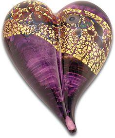 heart purple art glass