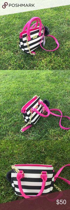 💗SOLD💗Betsey Johnson mini bag Stripes and polka dots mini Betsey Johnson mini bag. Two way Betsey Johnson Bags Mini Bags