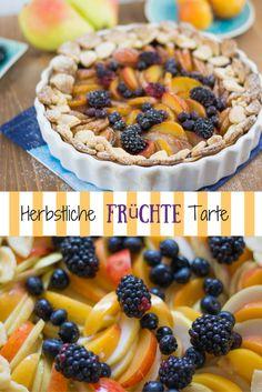 Ein knuspriger Mürbteigboden belegt mit süßen Birnen, saftigen Pflaumen und herbstlichen Beeren - Eine gesunde Tarte für den Herbst.
