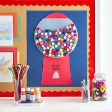 100 Day Project Ideas, 100 Day Of School Project, 100th Day Of School Crafts, School Gifts, 100 Days Of School Project Kindergartens, Summer Bulletin Boards, Activities For Kids, Crafts For Kids, Summer Crafts
