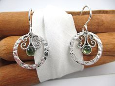 Peridot Stone Earrings Sterling Silver Peridot by SimpleGem, $23.00