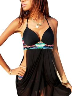 Women Sexy Halter Push Up Bikini Set Bathing Suit With Mesh Dress Swimwear at Banggood