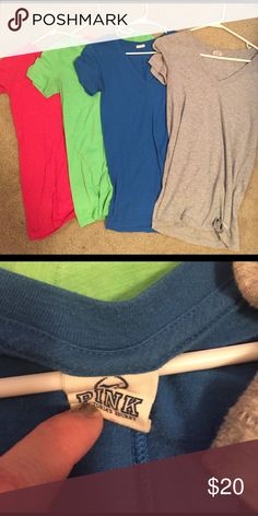 4 pink Victoria secret vneck tees Have been worn- $20 for all 4 shirts PINK Victoria's Secret Tops Tees - Short Sleeve